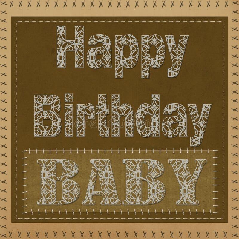 Carta di regalo con i quadrati di colore e compleanno dell'iscrizione il buon, bambino! illustrazione vettoriale