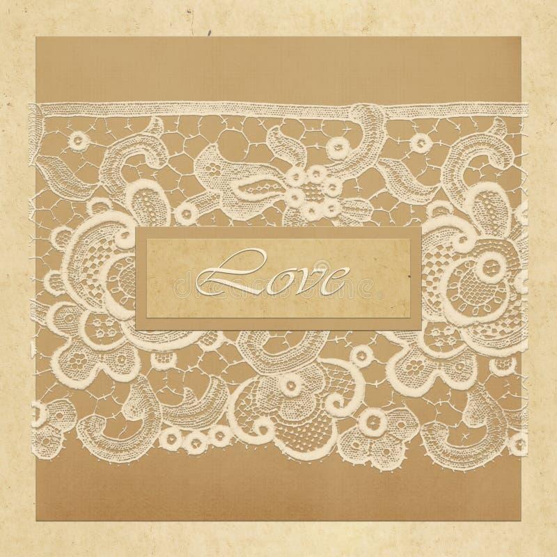 Carta di regalo con i quadrati di colore, il pizzo bianco e l'amore dell'iscrizione illustrazione di stock