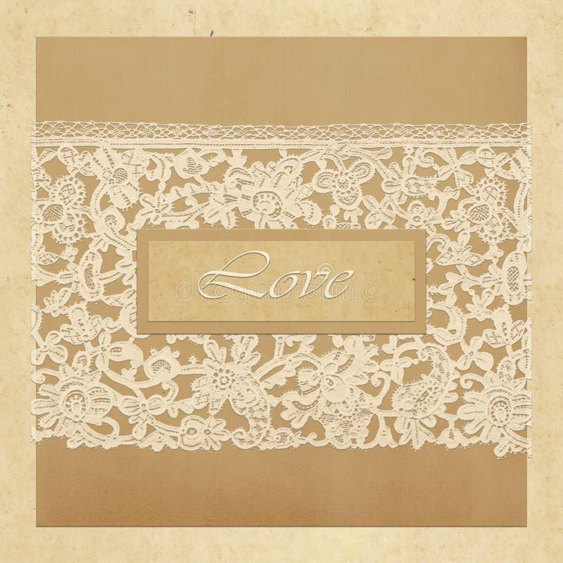 Carta di regalo con i quadrati di colore, il pizzo bianco e l'amore dell'iscrizione illustrazione vettoriale