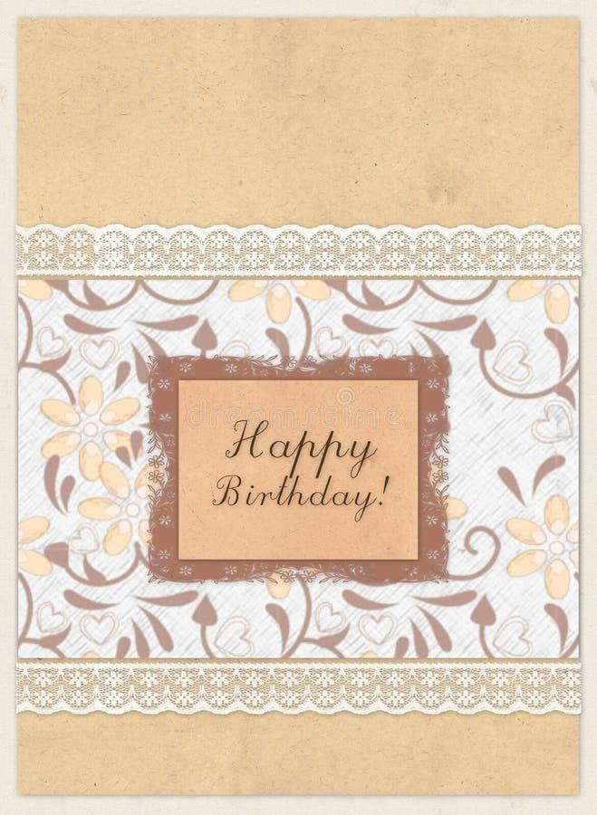 """Carta di regalo con i quadrati di colore, il pizzo e compleanno dell'iscrizione """"il buon! """" illustrazione di stock"""