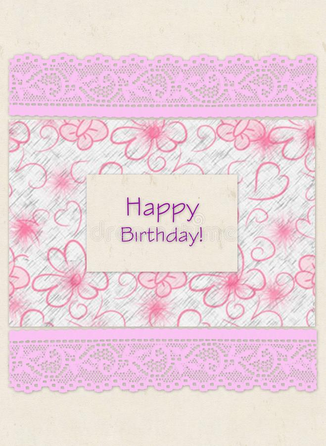 """Carta di regalo con i quadrati di colore, il pizzo e compleanno dell'iscrizione """"il buon! """" royalty illustrazione gratis"""