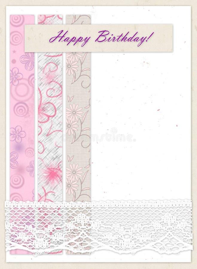 """Carta di regalo con i quadrati di colore, il pizzo e compleanno dell'iscrizione """"il buon! """" illustrazione vettoriale"""