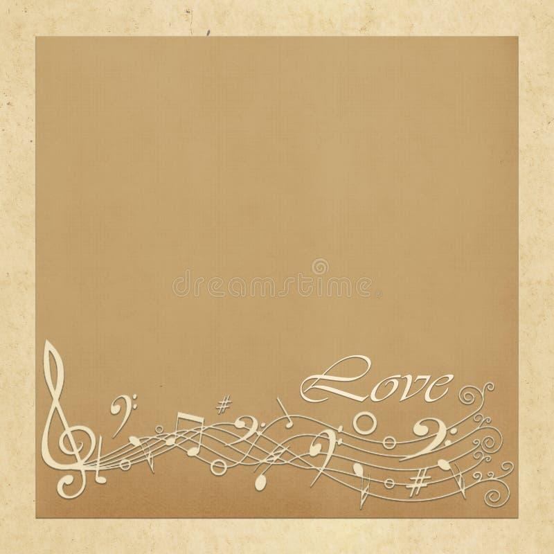 Carta di regalo con i quadrati di colore, le note musicali e l'amore dell'iscrizione royalty illustrazione gratis