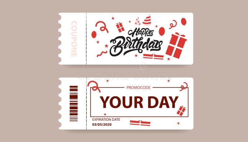 Carta di regalo con il codice del buono illustrazione del buono di buon compleanno nell'iscrizione dello stile con lettere con le illustrazione di stock