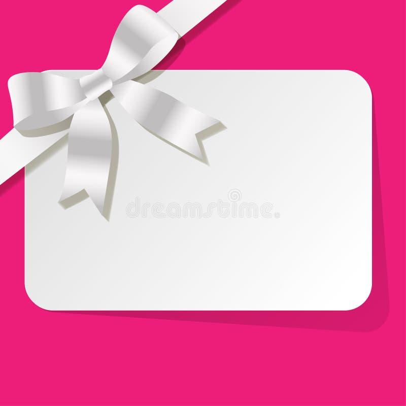 Carta di regalo con il nastro bianco della perla su un fondo rosa illustrazione di stock