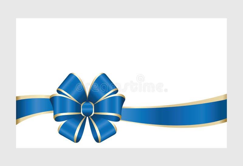 Carta di regalo con il nastro blu e un arco illustrazione vettoriale
