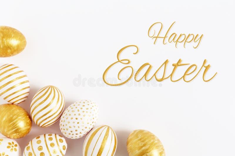 Carta di regalo con le uova di Pasqua variopinte e i camomiles immagini stock