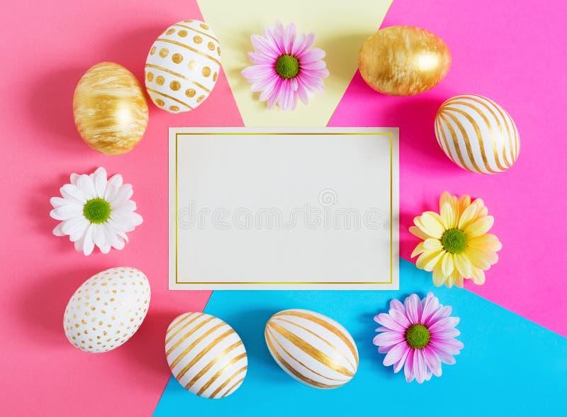 Carta di regalo con le uova di Pasqua variopinte e i camomiles fotografia stock libera da diritti