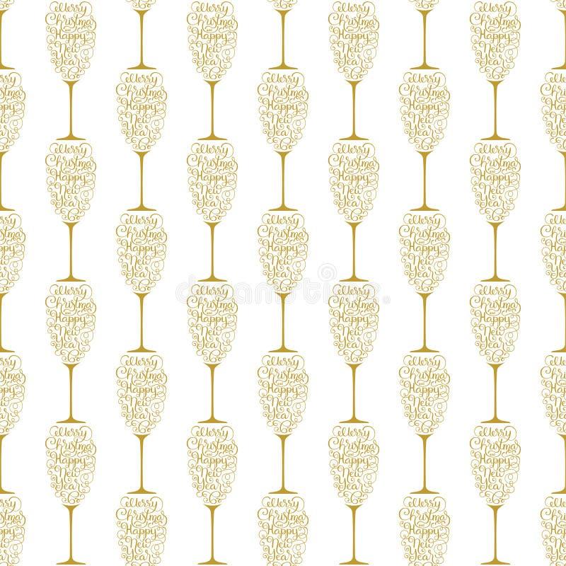 Carta di regalo della festa con il Buon Natale dell'iscrizione della mano ed il buon anno dorati sotto forma di vetro di champagn royalty illustrazione gratis