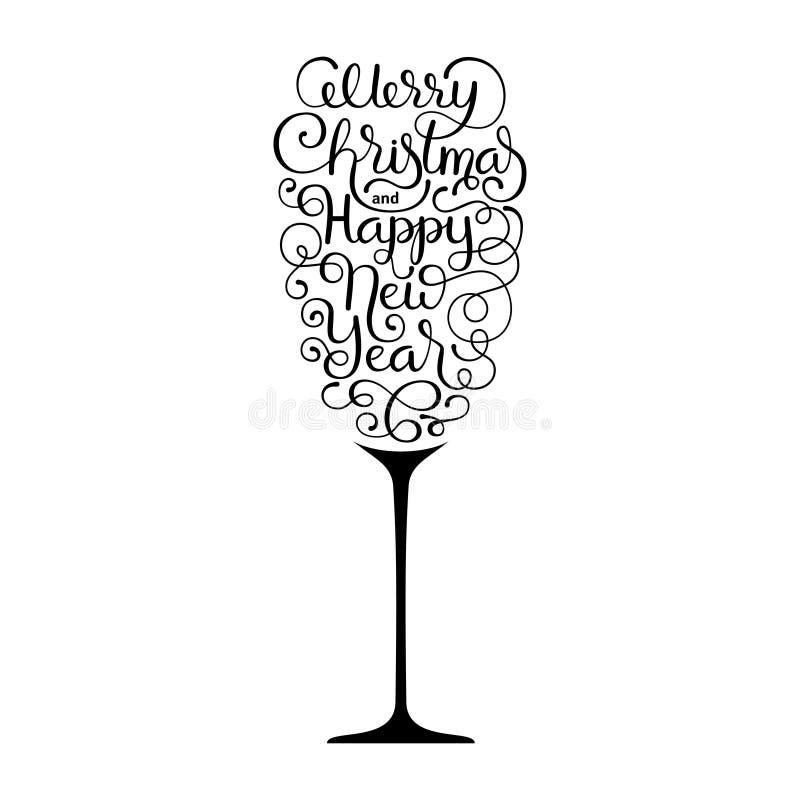 Carta di regalo della festa con il Buon Natale dell'iscrizione della mano ed il buon anno sotto forma di vetro di champagne su bi illustrazione vettoriale