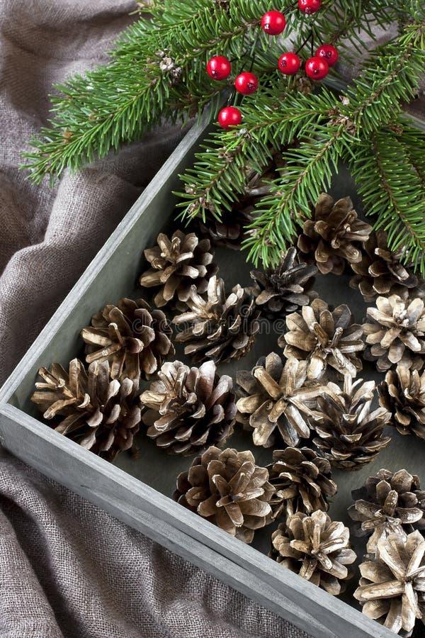 Carta di regalo di Natale con la composizione in festa fotografie stock libere da diritti