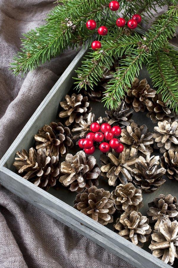 Carta di regalo di Natale con la composizione in festa immagini stock