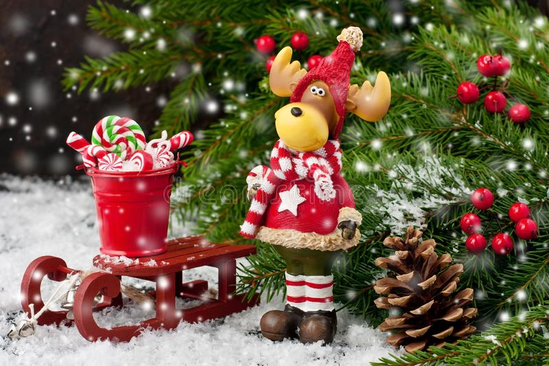 Carta di regalo di Natale con la composizione in festa fotografie stock
