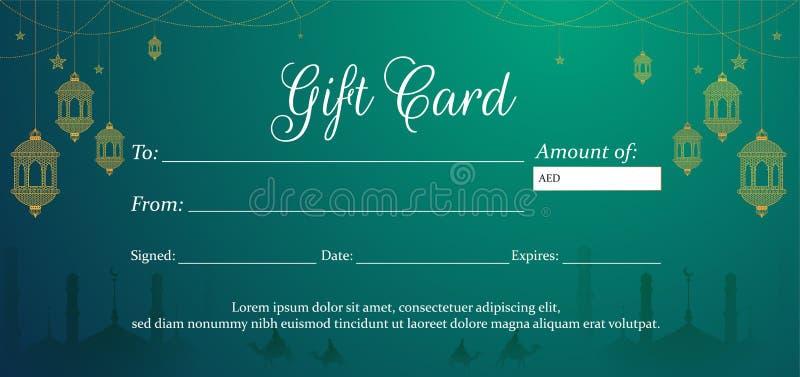 Carta di regalo o disposizione verde orizzontale del buono illustrazione di stock