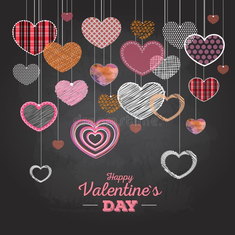 Carta di San Valentino con i cuori di amore illustrazione di stock