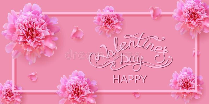 Carta di San Valentino con i fiori della peonia fotografia stock libera da diritti