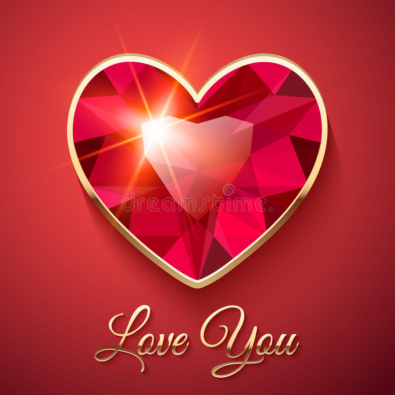 Carta di San Valentino con la pietra preziosa rossa illustrazione di stock