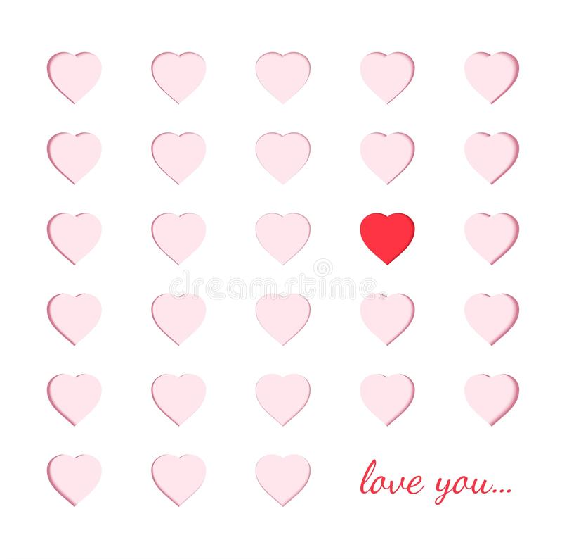 Carta di carta di Scrapbooking con i cuori rosa scolpiti ed un cuore rosso differente Concetto del papercut di origami e ` s del  illustrazione vettoriale