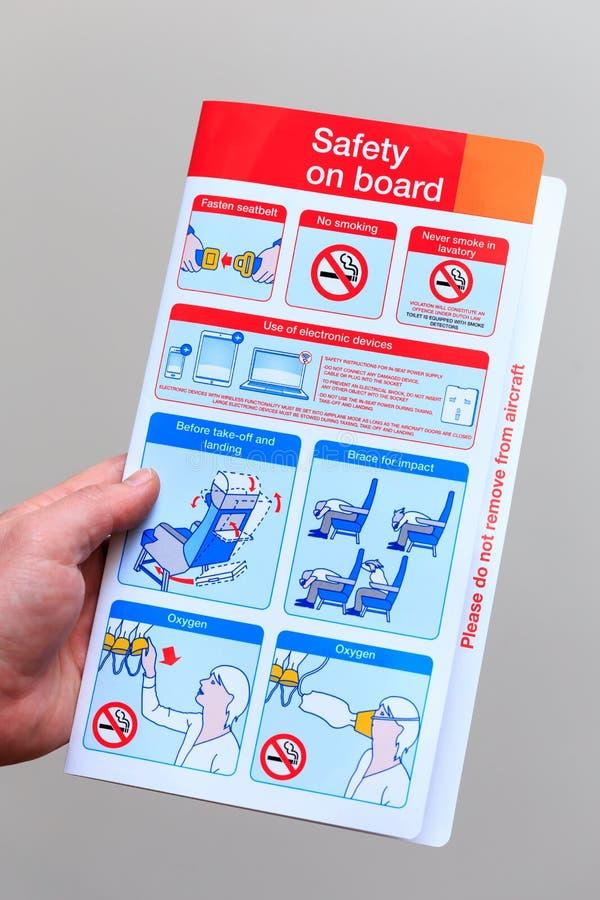 Carta di sicurezza dell'aereo di linea fotografia stock libera da diritti