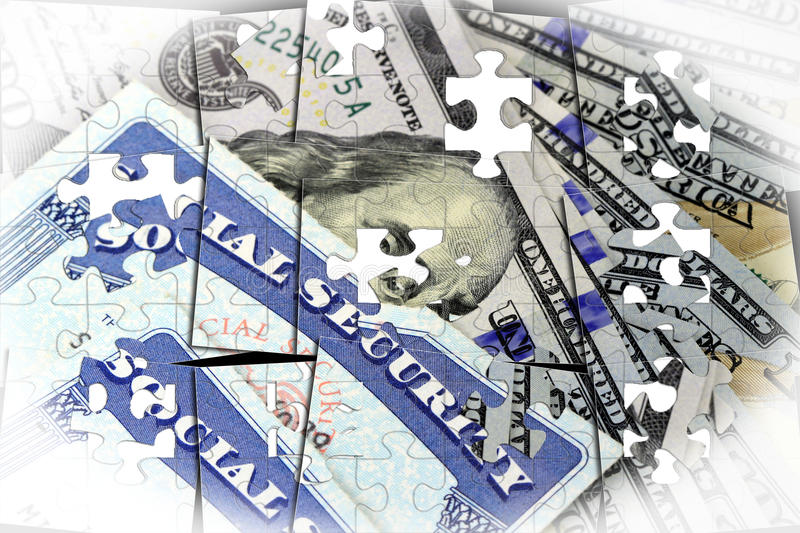 Carta di sicurezza sociale e banconota in dollari di valuta cento degli Stati Uniti royalty illustrazione gratis