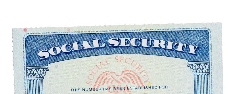 Carta di sicurezza sociale di U.S.A. isolata contro bianco fotografia stock