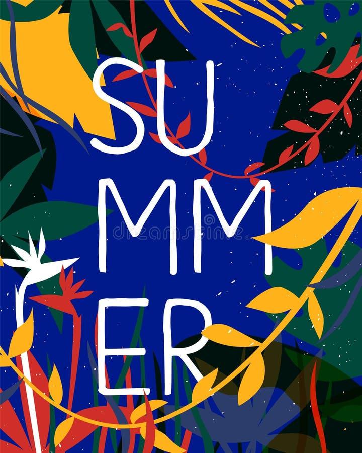Carta di stagione estiva della pianta tropicale e del fiore royalty illustrazione gratis