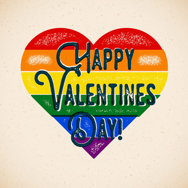 Carta di tema gay di giorno di biglietti di S. Valentino dell'arcobaleno illustrazione vettoriale