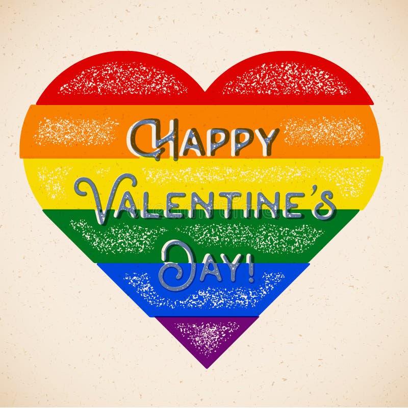 Carta di tema gay di giorno di biglietti di S. Valentino dell'arcobaleno con i colori spostati royalty illustrazione gratis