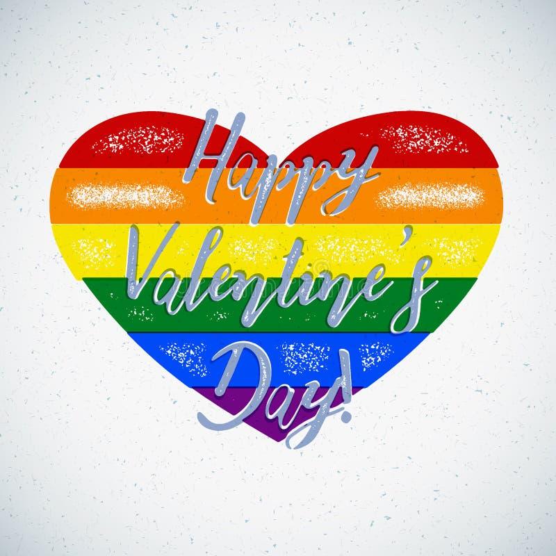 Carta di tema gay di giorno di biglietti di S. Valentino dell'arcobaleno con i colori spostati illustrazione vettoriale