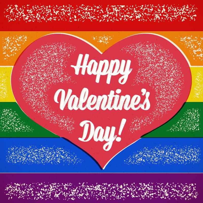 Carta di tema gay di giorno di biglietti di S. Valentino dell'arcobaleno con i colori spostati illustrazione di stock