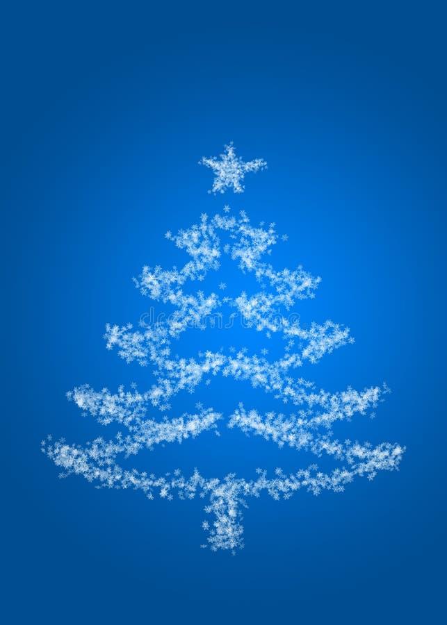Carta di tema di Natale, inverno specifico, fiocco di neve, albero di Natale e fondo blu illustrazione vettoriale