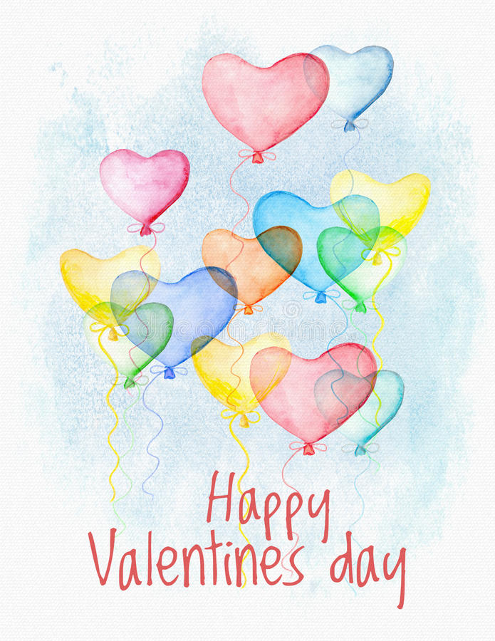 Carta di Valentine Day dell'acquerello con i cuori di volo royalty illustrazione gratis