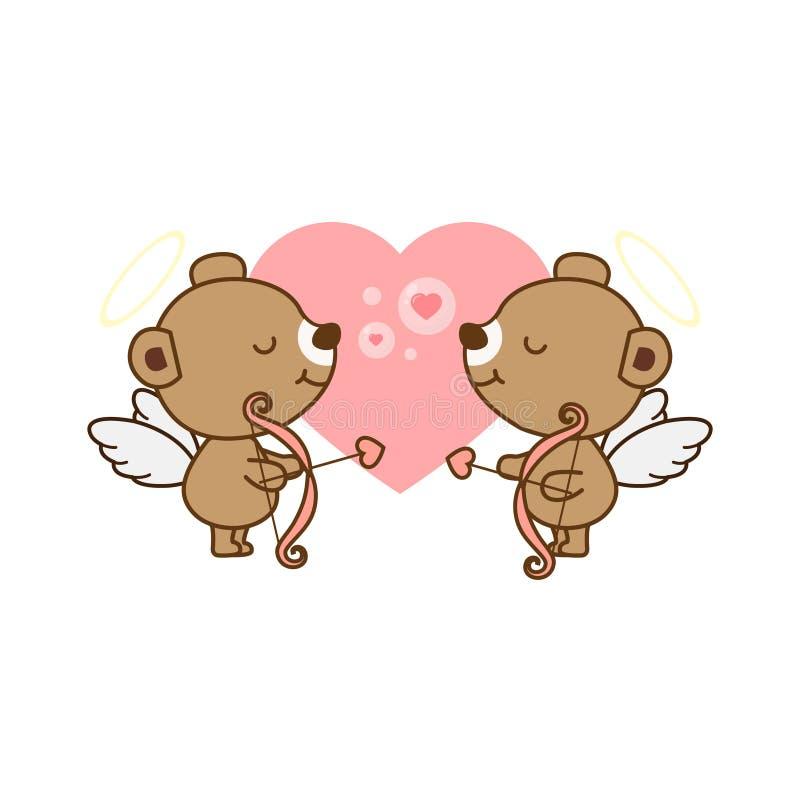Carta di Valentine Greeting Angel Bear sveglio con cuore Illustrazione di vettore royalty illustrazione gratis