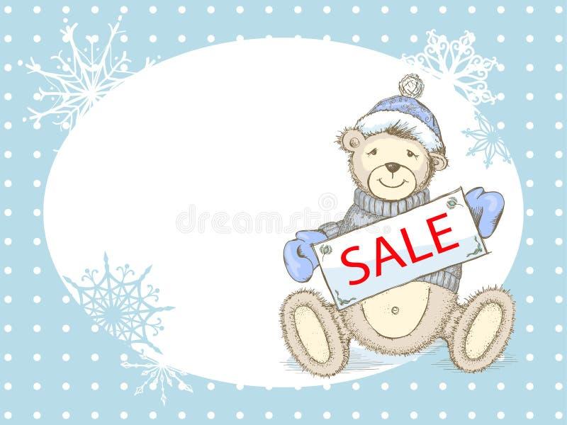 Carta di vendita di inverno di vettore con l'orso del giocattolo illustrazione vettoriale
