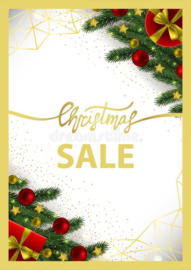 Carta di vendita di Natale con la struttura geometrica dell'oro illustrazione di stock