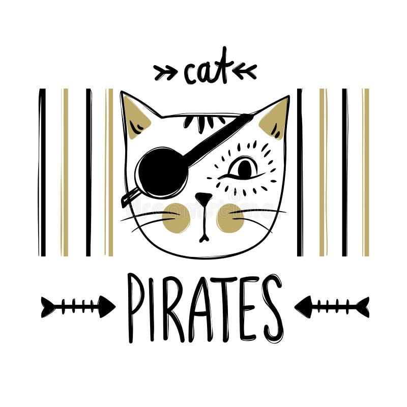 Carta di vettore con il gatto sveglio del pirata Gattino alla moda Modo di scarabocchio