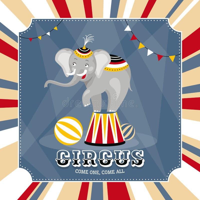 Carta di vettore con l'elefante illustrazione vettoriale