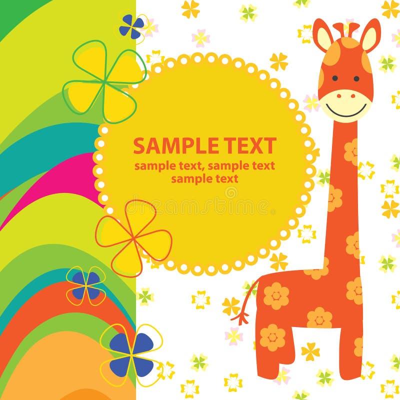 Carta di vettore con la giraffa royalty illustrazione gratis