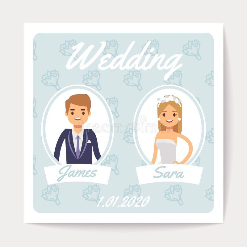 Carta di vettore dell'invito di nozze con la coppia sposata felice - sposa e sposo del fumetto illustrazione di stock