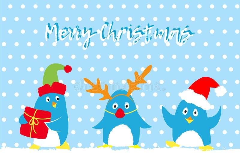 Carta di vettore di Buon Natale con i pinguini svegli illustrazione vettoriale