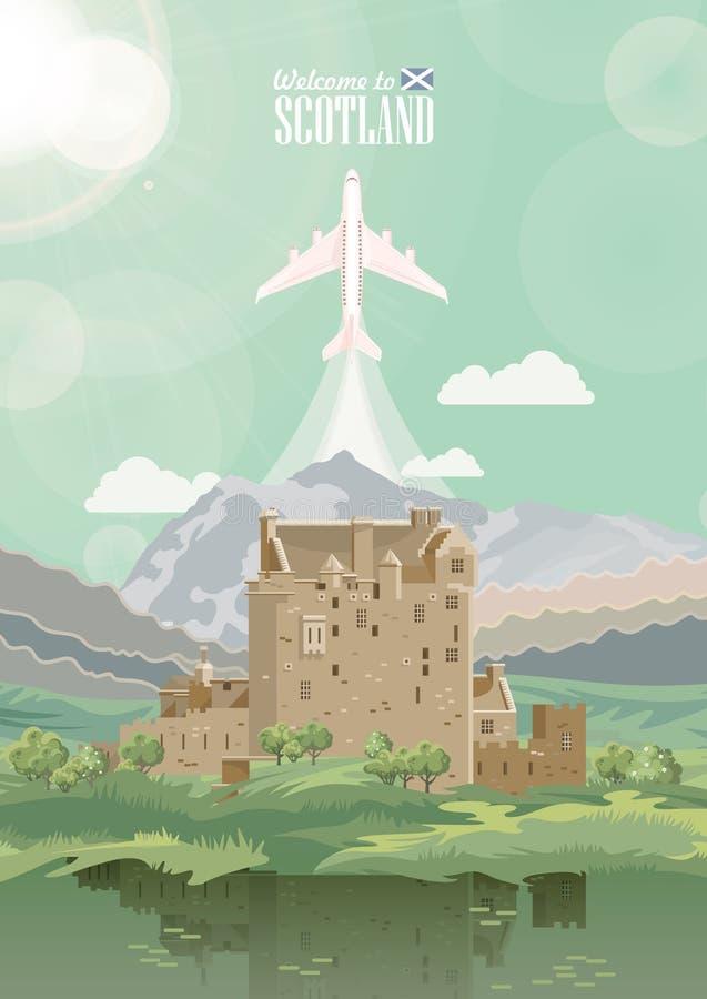 Carta di vettore di viaggio della Scozia nello stile moderno Paesaggi scozzesi royalty illustrazione gratis