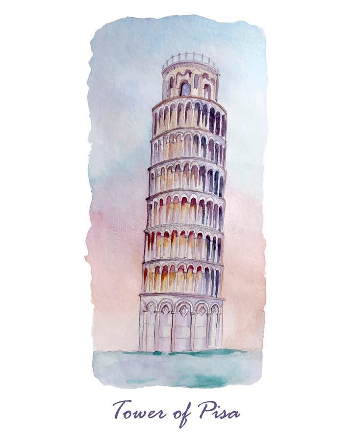 Carta di viaggio con la torre di Pisa royalty illustrazione gratis