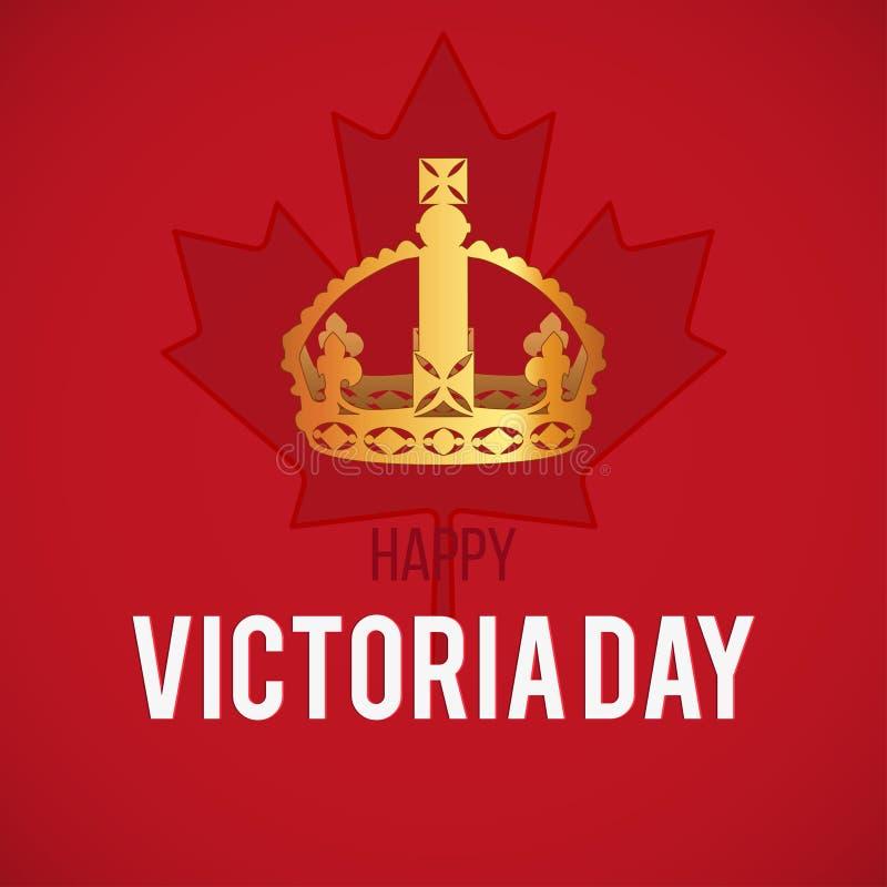 Carta di Victoria Day con la bandiera del Canada e la corona, vettore illustrazione vettoriale