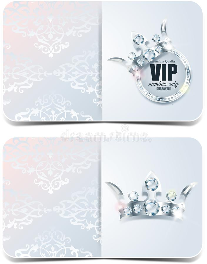 Carta di VIP Fondo d'argento Qualità di premio crown royalty illustrazione gratis