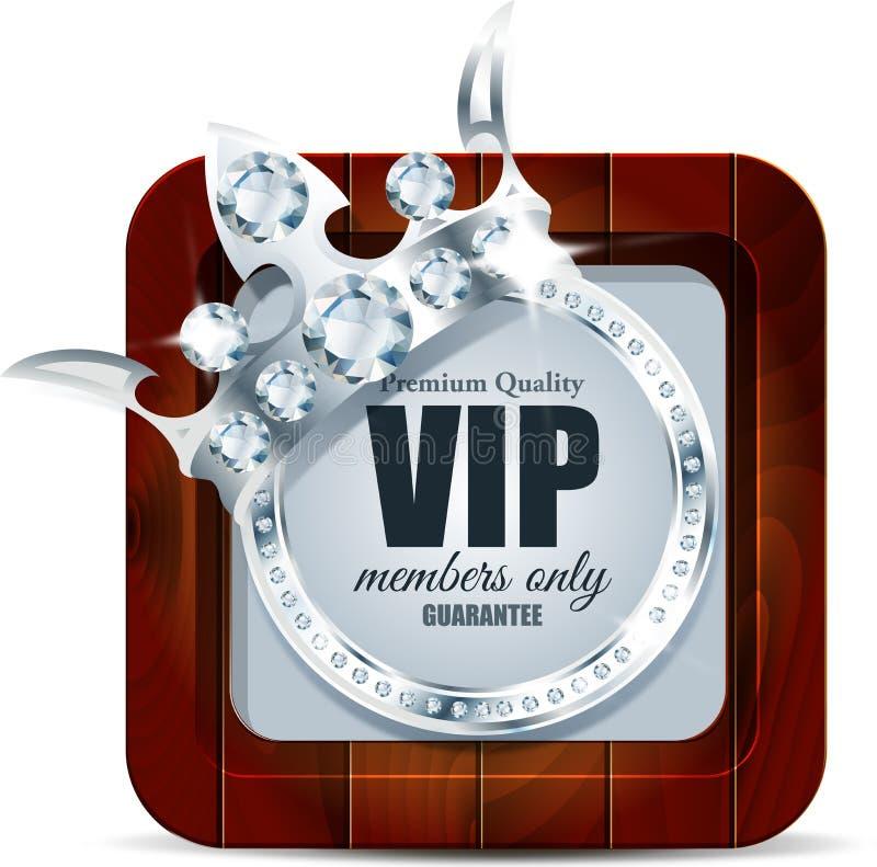 Carta di VIP Fondo d'argento Qualità di premio crown illustrazione di stock