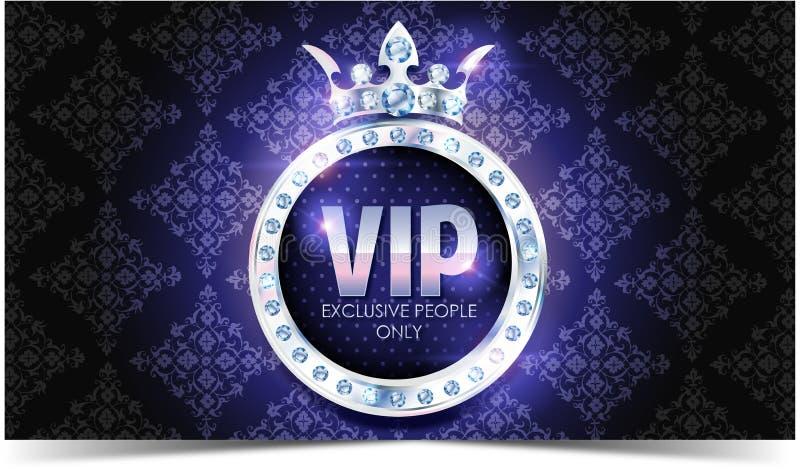 Carta di VIP Fondo d'argento Qualità di premio crown illustrazione vettoriale