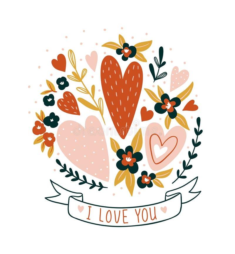 Carta disegnata a mano del biglietto di S. Valentino con i fiori e l'iscrizione - ` del ` ti amo Progettazione della stampa flore royalty illustrazione gratis