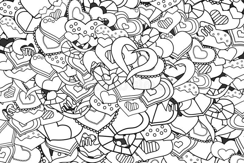 Carta disegnata a mano del fumetto di scarabocchio dei cuori di amore royalty illustrazione gratis