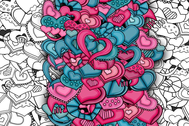 Carta disegnata a mano del fumetto di scarabocchio dei cuori di amore illustrazione vettoriale