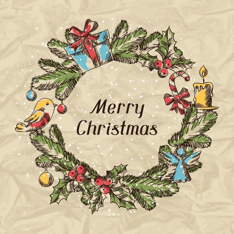 Carta disegnata a mano dell'invito di Buon Natale illustrazione di stock
